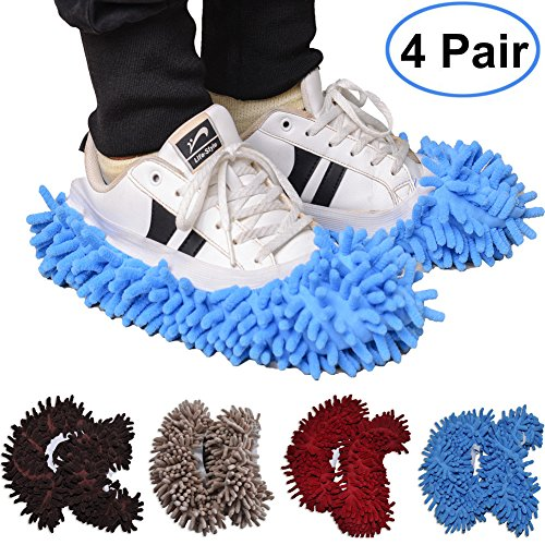 Mop Slippers,4 Pairs Washable Dust Mop Slippers Shoes Microfiber Floor Cleaning Shoes Cover for House Kitchen Office