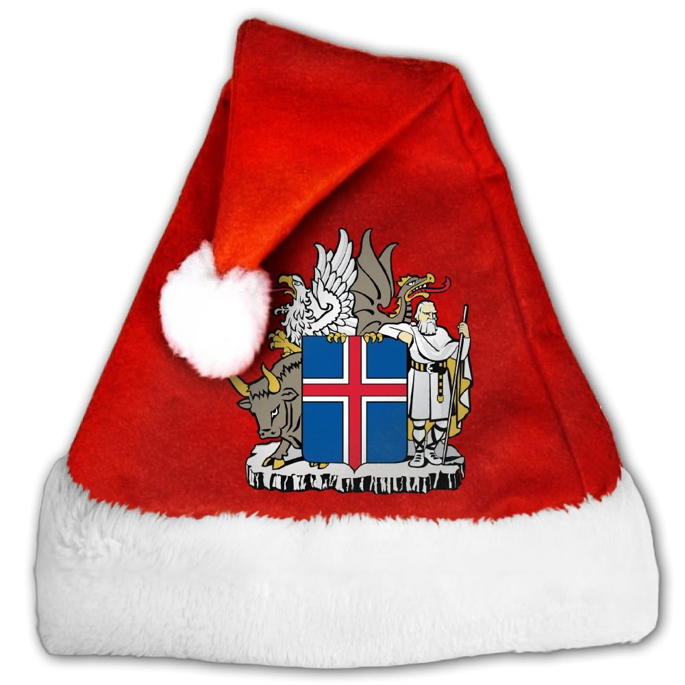 ODLS7 Coat Of Arms Of Iceland Christmas Gifts Hats Santa Hats Fashion Holiday Home Party Decorations For Kids Adult