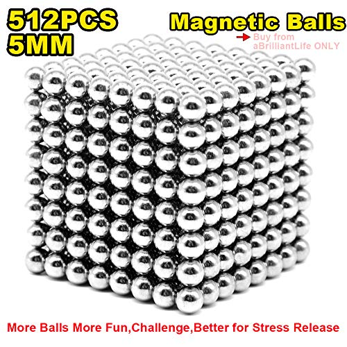 aBrilliantLife 5MM 512 Pieces Magnetic Balls Toys Sculpture Building Magnetic Blocks Magnets Cube Gift for Intellectual Development -Office Toy Stress Relief Gifts for Teens and Adult-Sliver