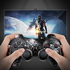 CHENGDAO PS3 Controller Wireless Double Shock Gamepad for Playstation 3 Remotes,Six-axis Wireless PS3 Controller with Charging Cable - Skull (Color: Skull)