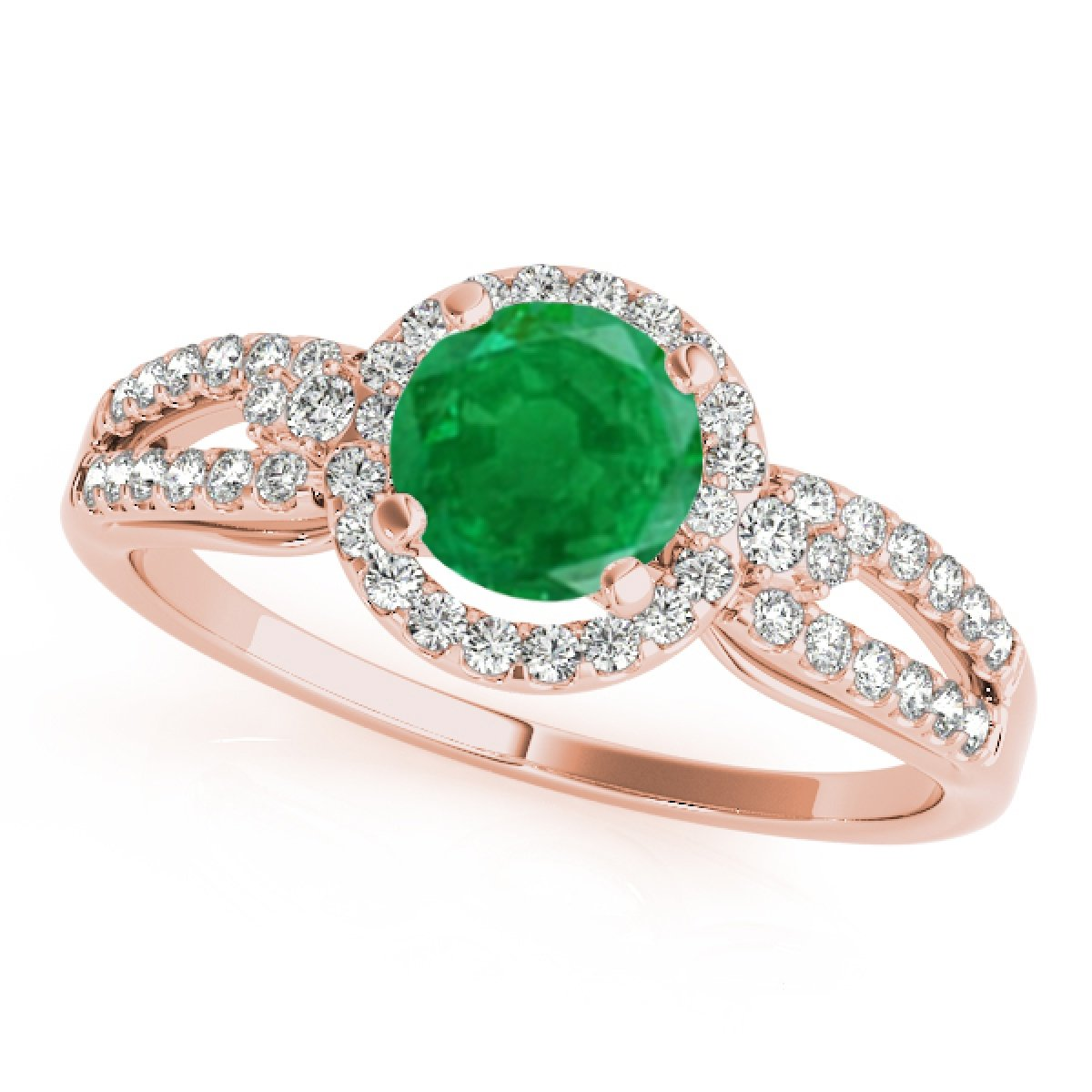 93ebdcf8493504 MauliJewels 1.25 Carat Round Cut Antique Halo Emerald Diamond Bridal Ring Band  Set Women