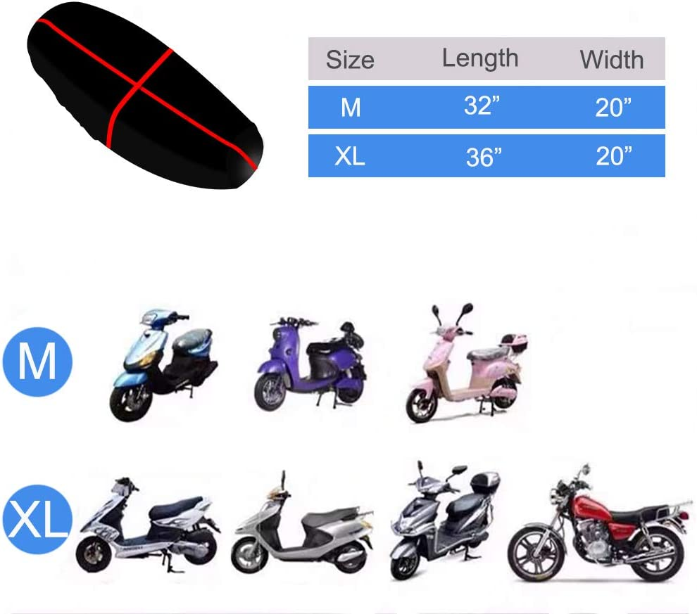 Motorcycle Seat Cover 3D Honeycomb Sunscreen Heat Insulation Seat Spacer Mesh Fabric Breathable Anti-Slip Cushion for Scooter Moped XL Black