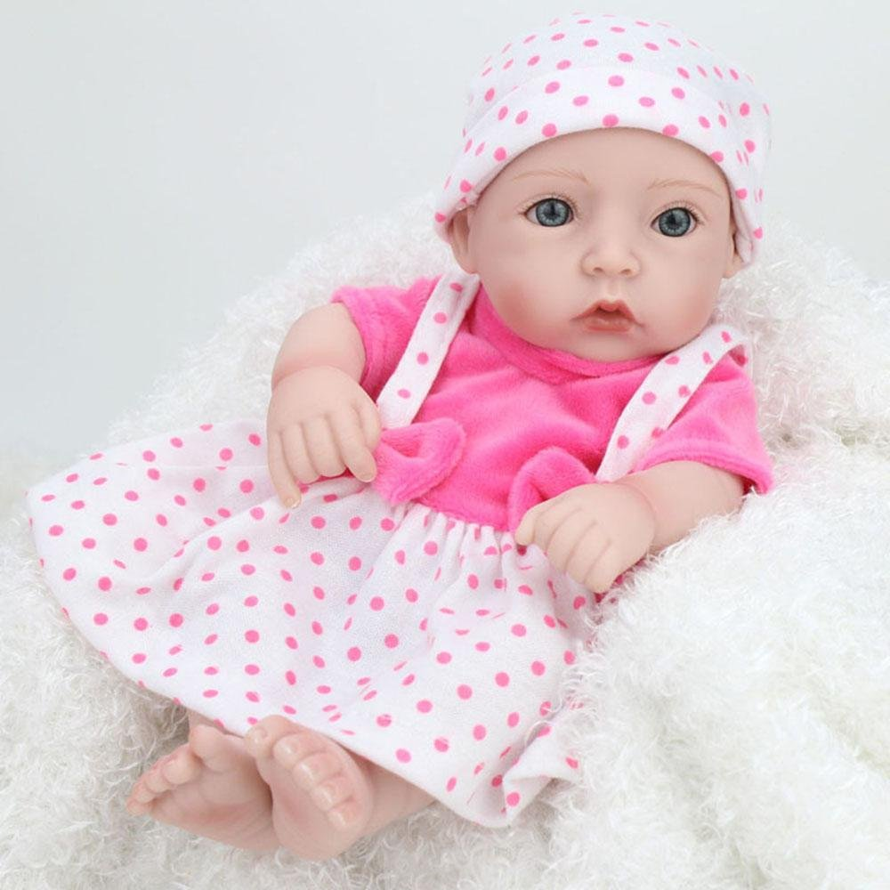 LINAG Muñeca Renacida Bebé Vinilo Silicona Suave Realista Fashion Juguetes Toque Cumpleaños Niña Lifelike Jugar Doll Casa Regalo Princesa Lindo Niño Educación Temprana Piel Oscura 28cm Doll-61139