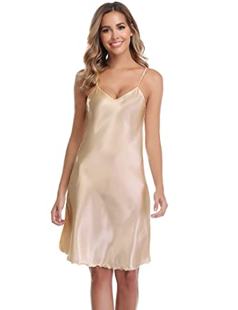 32a50f33d5 Vlazor Satin Nightshirts Sexy Nightdress Spaghetti Strap Negligee Nightgown  Chemise Slip with Deep V Neck Beige