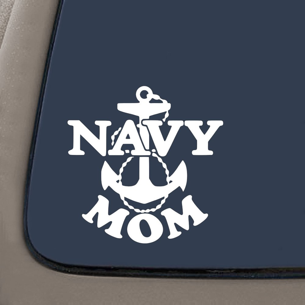 NI981 Navy Mom Military Decal Sticker | 7 Inches By 7 Inches | Premium Quality White Vinyl