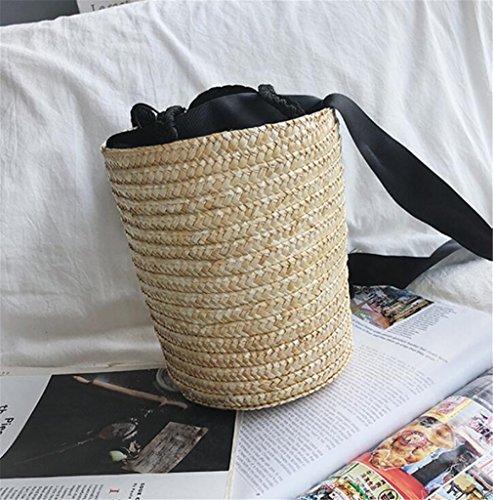 22 Z De 5CM Bolso Bolso ELEGENCE De A De Hecho Cubo Cruz Bolso Hombro Bolsa Alta De Paja Diagonal Fiesta Calidad De Mano De Playa 16 ASwwp