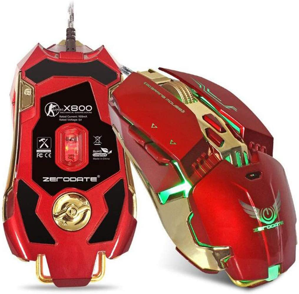 Wired Gaming Mouse USBX800 with a Side Button of The Electric Mouse Adjustable DPI Gaming Mouse-red