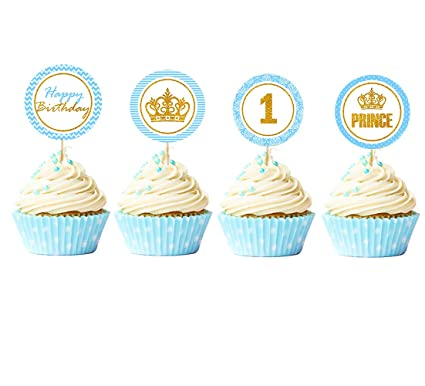Amazon Com Jevenis 24 Pcs Little Prince Cupcake Toppers Royal