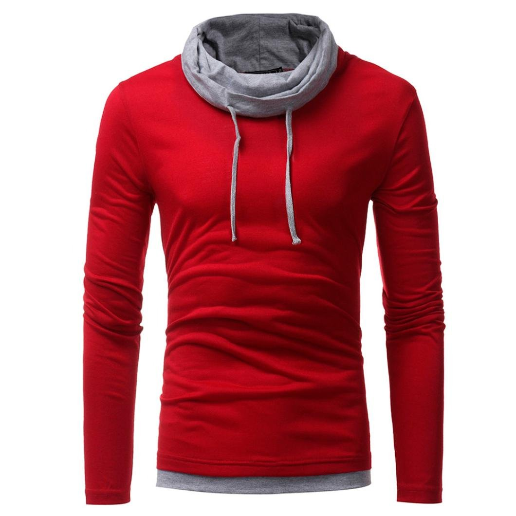 HTHJSCO Men's Spring Autumn Winter Casual Funnel Neck Plaid Jacquard Pullover Hooded Top Sweatshirt Hoodies (Red, XXXL) by HTHJSCO