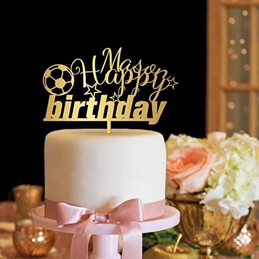 Astonishing Amazon Com Kiskistonite Happy Birthday Cake Toppers Soccer Name Funny Birthday Cards Online Aeocydamsfinfo
