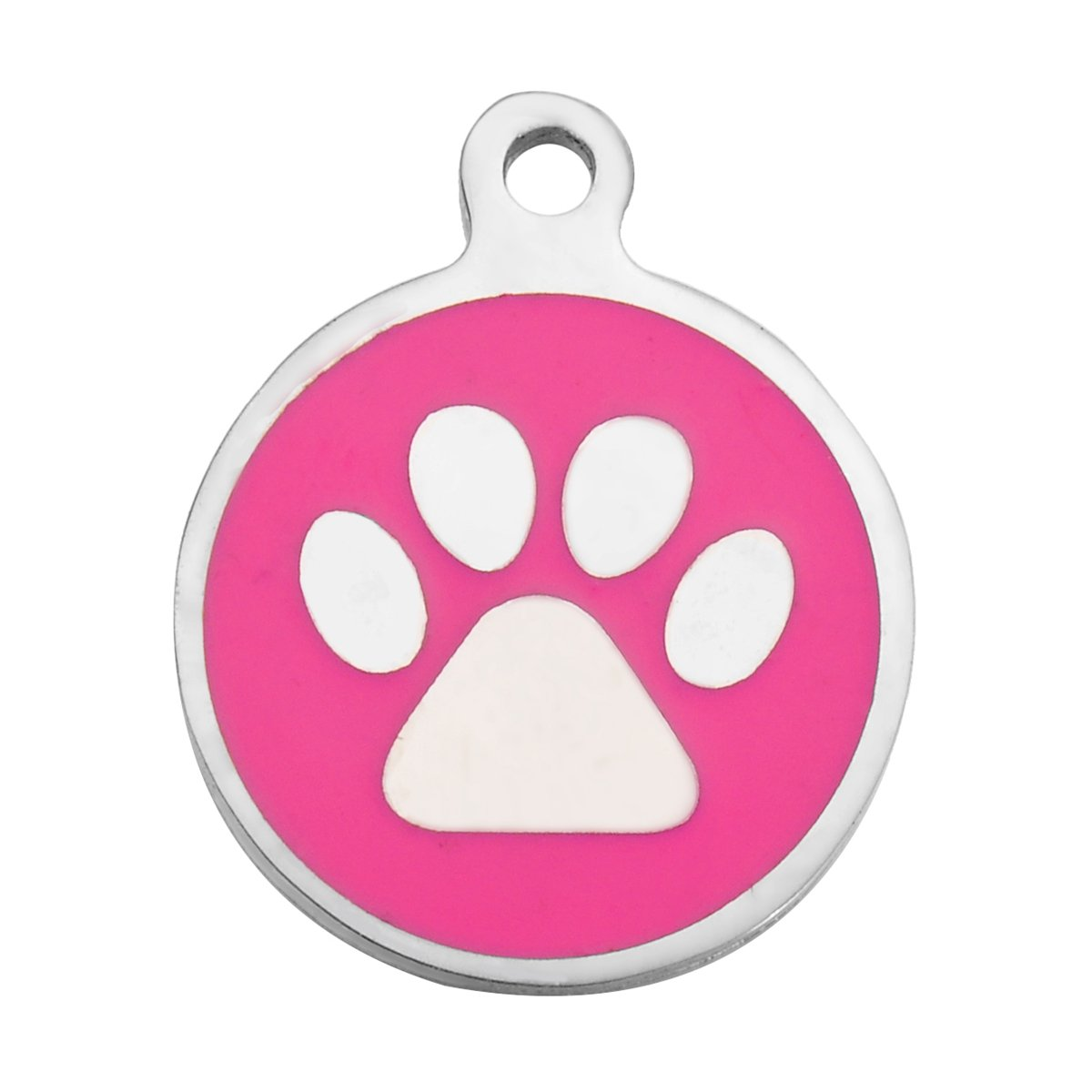 HooAMI Paw Print Round Stainless Steel with Enamel Pet ID Tag - Dog Tag Cat Tag