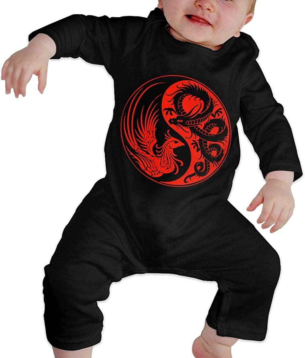 Unisex Baby Romper Jumpsuit Red and Black Dragon Organic One-Piece Kid Pajamas Clothes