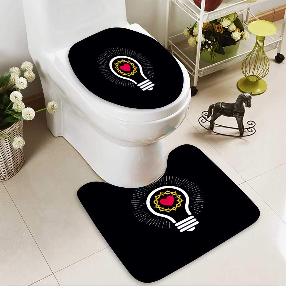 Analisahome Soft Toilet Rug 2 Pieces Set logo church christian symbols lamp and crown of thorns Machine-Washable