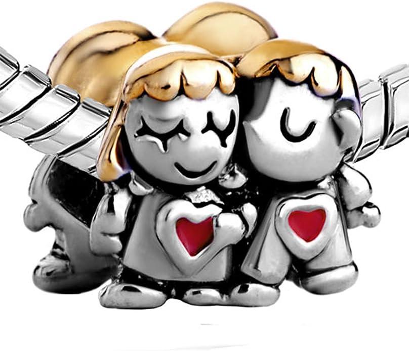 SUG Jasmin Charms pour couple Inscription Forever Together Motifs couples en tenue de mariage Perle pour bracelets europ/éens