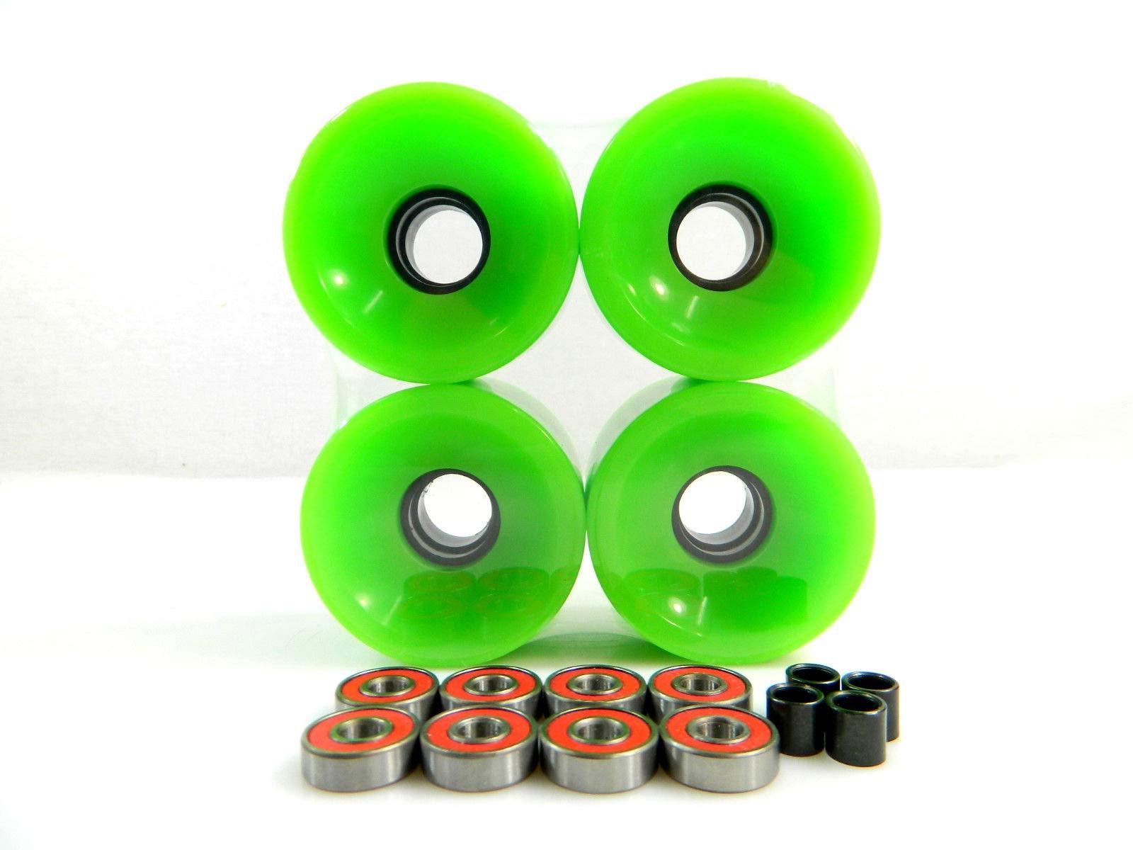 Good Skateboard Green Blank 70Mm Longboard Cruiser Wheels + ABEC 7 Bearing + Spacers