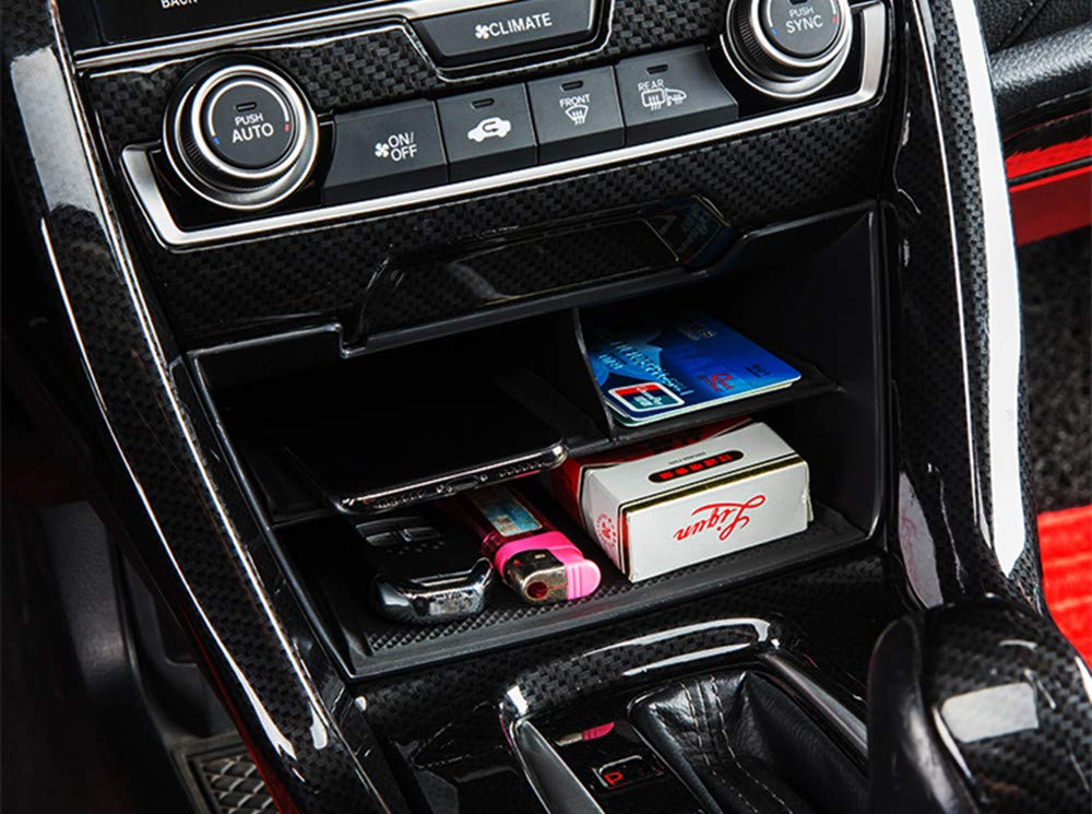 Change Holder Multi-Grid Armrest Box Stuff Organizer Box ZHOL 2016-2019 Civic Car Center Console Storage Box