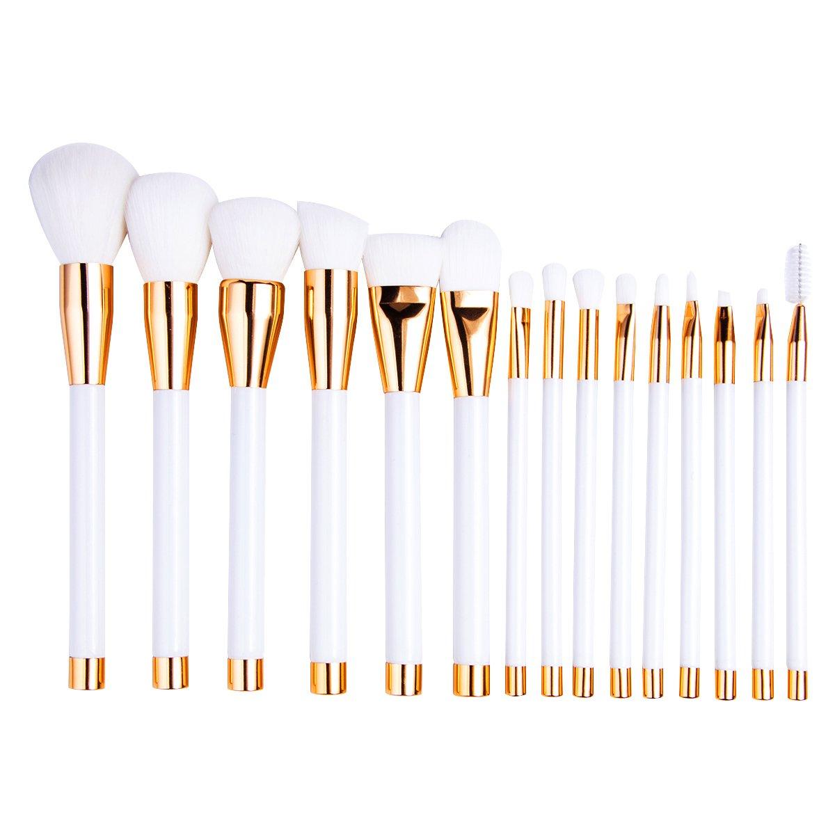 Brochas de Maquillaje, 15 pcs profesional fundación pinceles de maquillaje sombra de ojos maquillaje juego de brochas kabuki cara pinceles brochas de maquillaje Kit de polvo colorete, corrector, color blanco