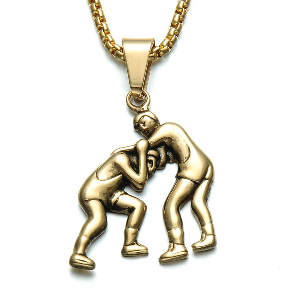 JAJAFOOK Unisex Stainless Steel Wrestling Match Pendant Sport Necklace Gold/Silver Chain