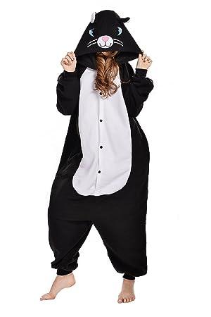 c404d50138ce8 Kigurumi Chat Nior Pyjama Combinaisons Animaux Femme Homme Grenouillère  Grenouillere Adulte Pyjamas Costume Cosplay S