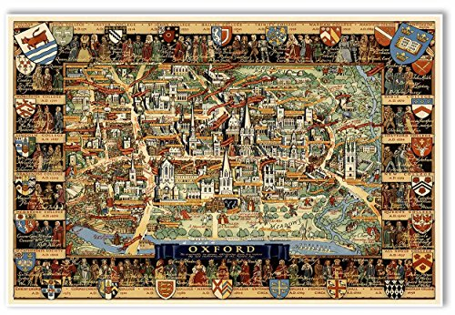 MAP of Oxford University area - London, England - circa 1948 - measures 36
