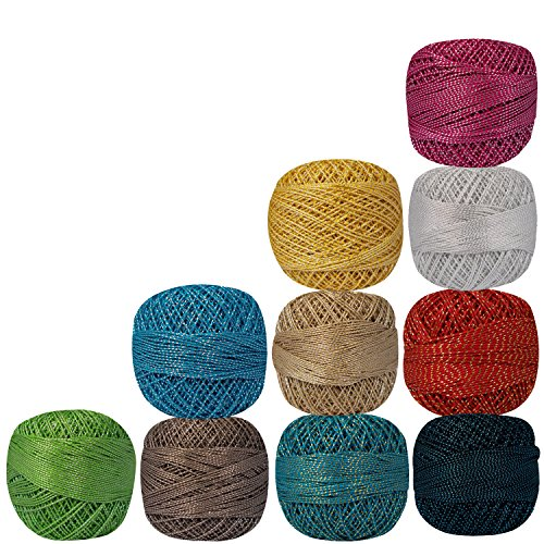 Pack of 10 Pcs Variegated Knitting Balls Yarn Tatting Doilies Assorted Skeins Lacey Craft Metallic Multicolor Cotton Crochet Thread by CraftyArt