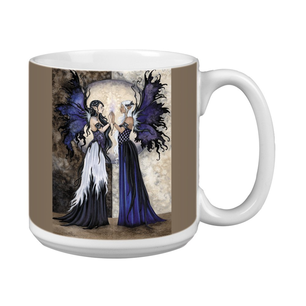20-Ounce Tree-Free Greetings XM27595 Amy Brown Artful Jumbo Mug Fantasy Two Sisters Fairies