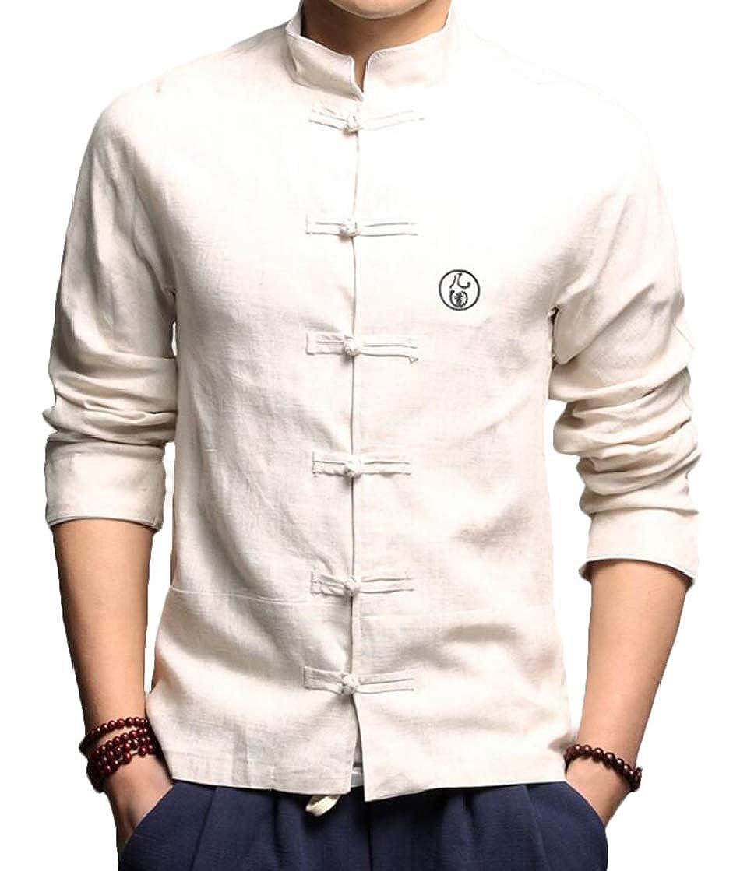 YYear Men Chinese Style Basic Buttons Linen Mandarin Collar Shirts