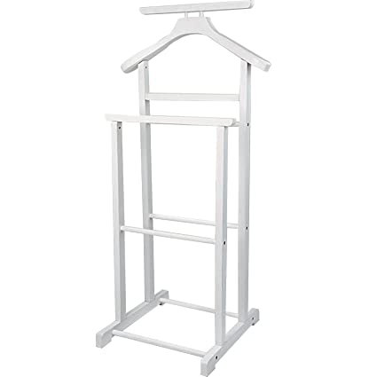 Jago Coat Valet Stand of Pine Wood (White)