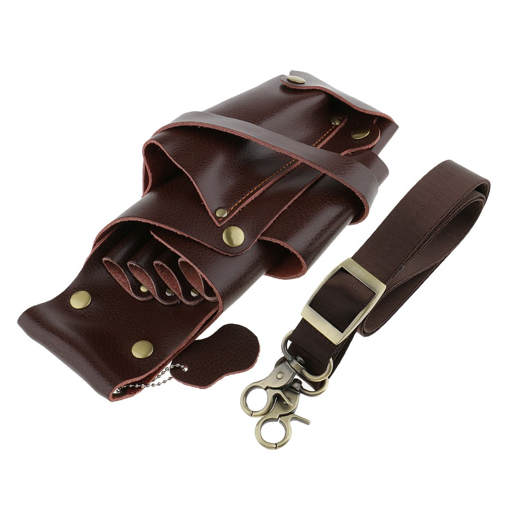 MagiDeal Professional Hairdressing Scissors Comb Clips Clamp Pouch Holster Bag Hairdresser Salon Stylist Tool Belt - Brown, as described