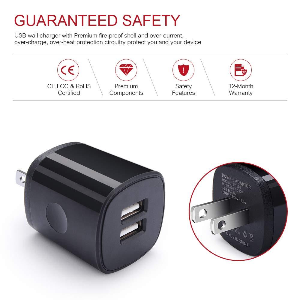 Amazon.com: Cargador de pared USB, Cebkit Dual USB cargador ...