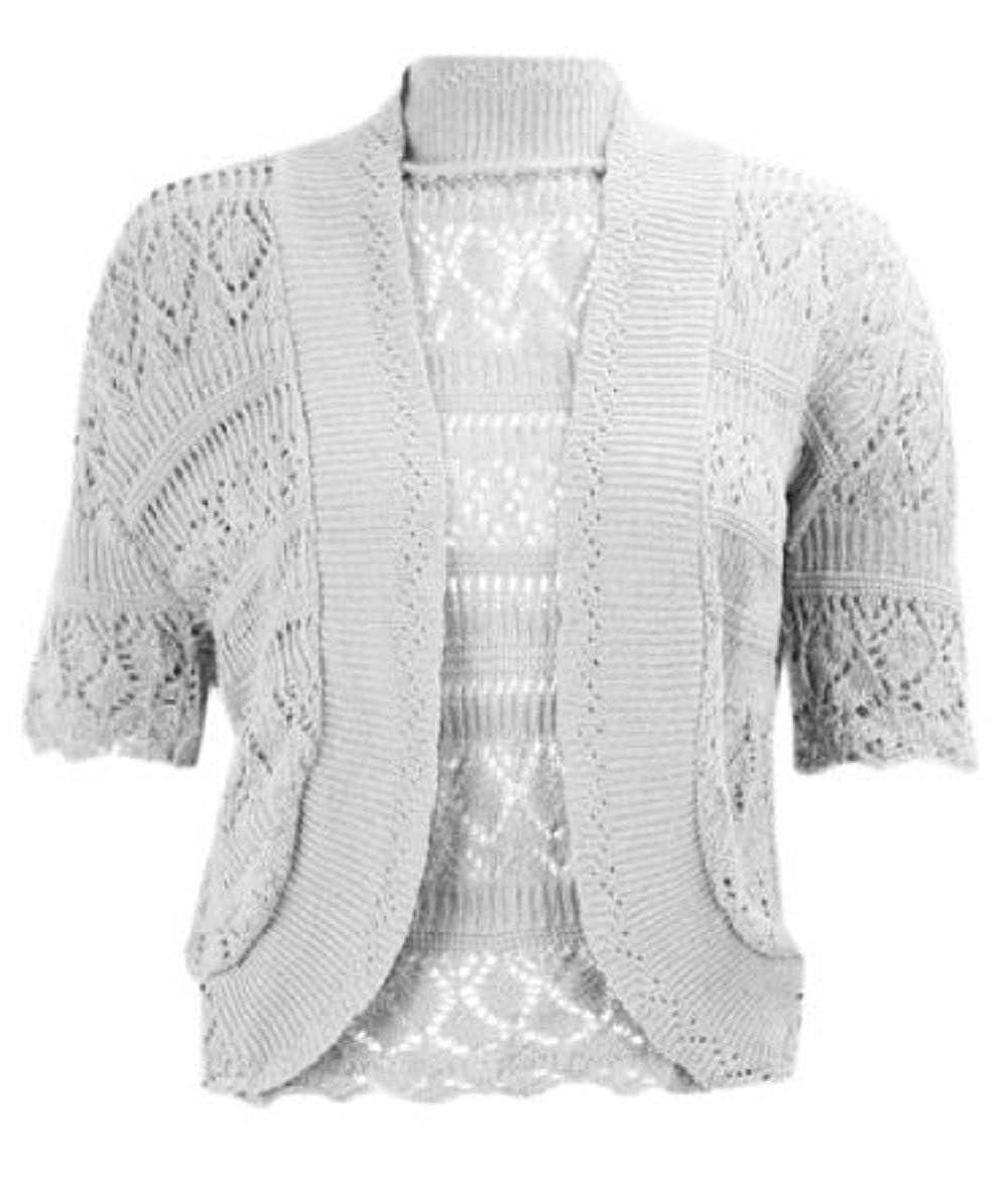 New Women Plus Size Bolero Cap Sleeve Cropped Shrug Crochet Knitted