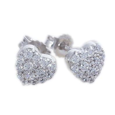 ASS 925 Silber Damen Kinder Ohrstecker Herz groß mit vielen weißen  Zirkonia  Amazon.de  Schmuck 1abb8fe3c9