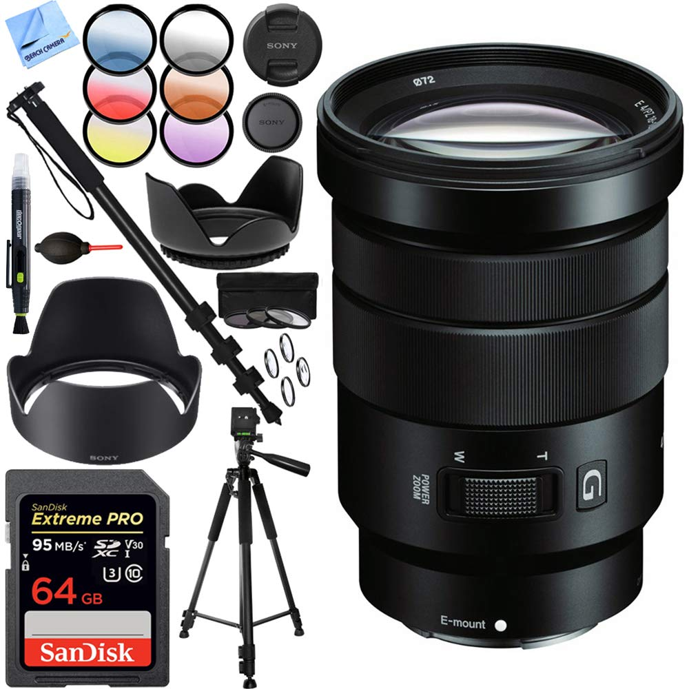 Sony E PZ 18-105mm f/4 G OSS Power Zoom Lens Bundle with Sandisk 64GB Memory Card, 72mm Filter Sets, Lens Hood and Accessories (5 Items) by Sony