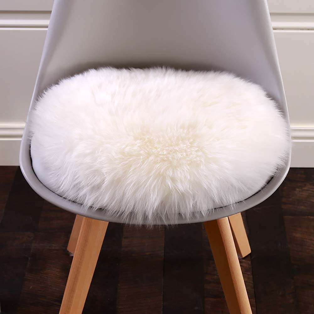 Cuteshower Round Faux Fur Sheepskin Rugs Soft Plush seat Cover Cushion Pad For Chair Living & Bedroom Sofa White 19.7'' x 19.7''
