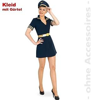 Retro Stewardess Kostüm Damen Uniform Flugbegleiterin Damenkostüm Saftschubse