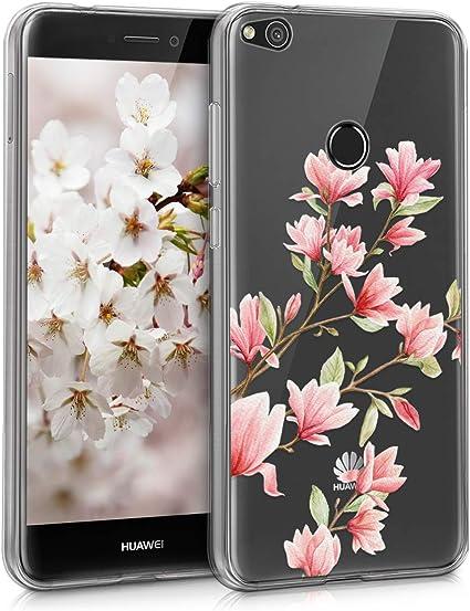kwmobile Coque Compatible avec Huawei P8 Lite (2017) - Housse Protectrice pour Téléphone en Silicone Magnolias Rose Clair-Blanc-Transparent