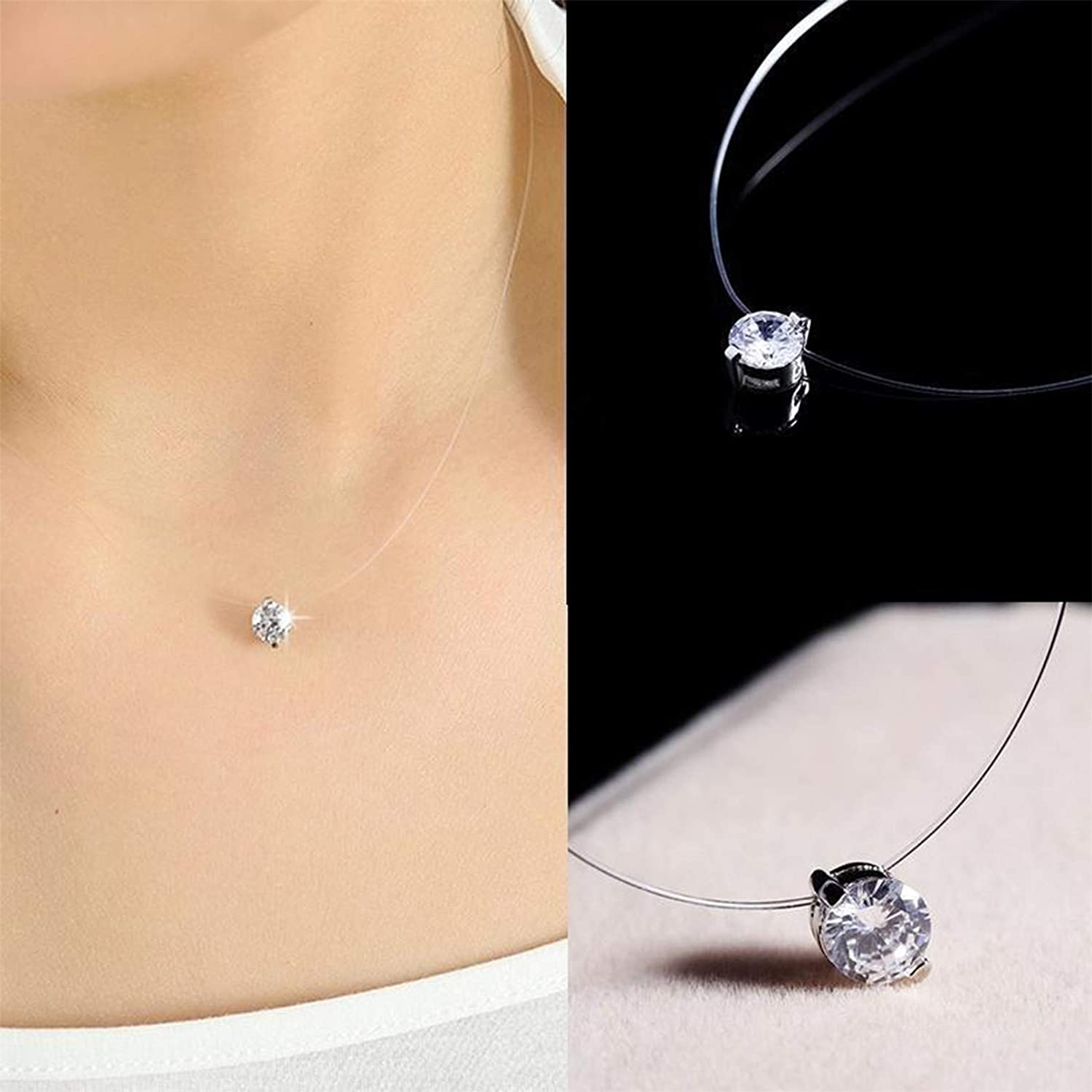 ZXDDD Multi Coloured Solitaire Pendant Necklace Chain Invisible Fishing Line Rhinestone Choker Jewellery For Women Girls
