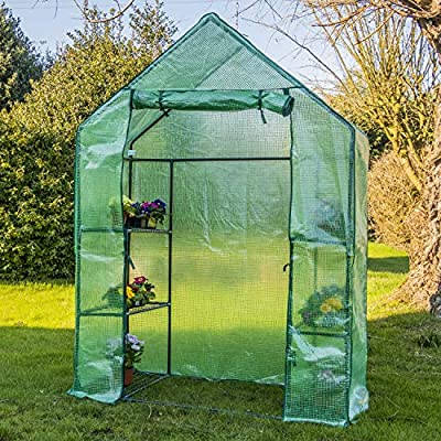 Woodside 4 Tier Garden Greenhouse Outdoor Pot Plant Growhouse with PE Cover