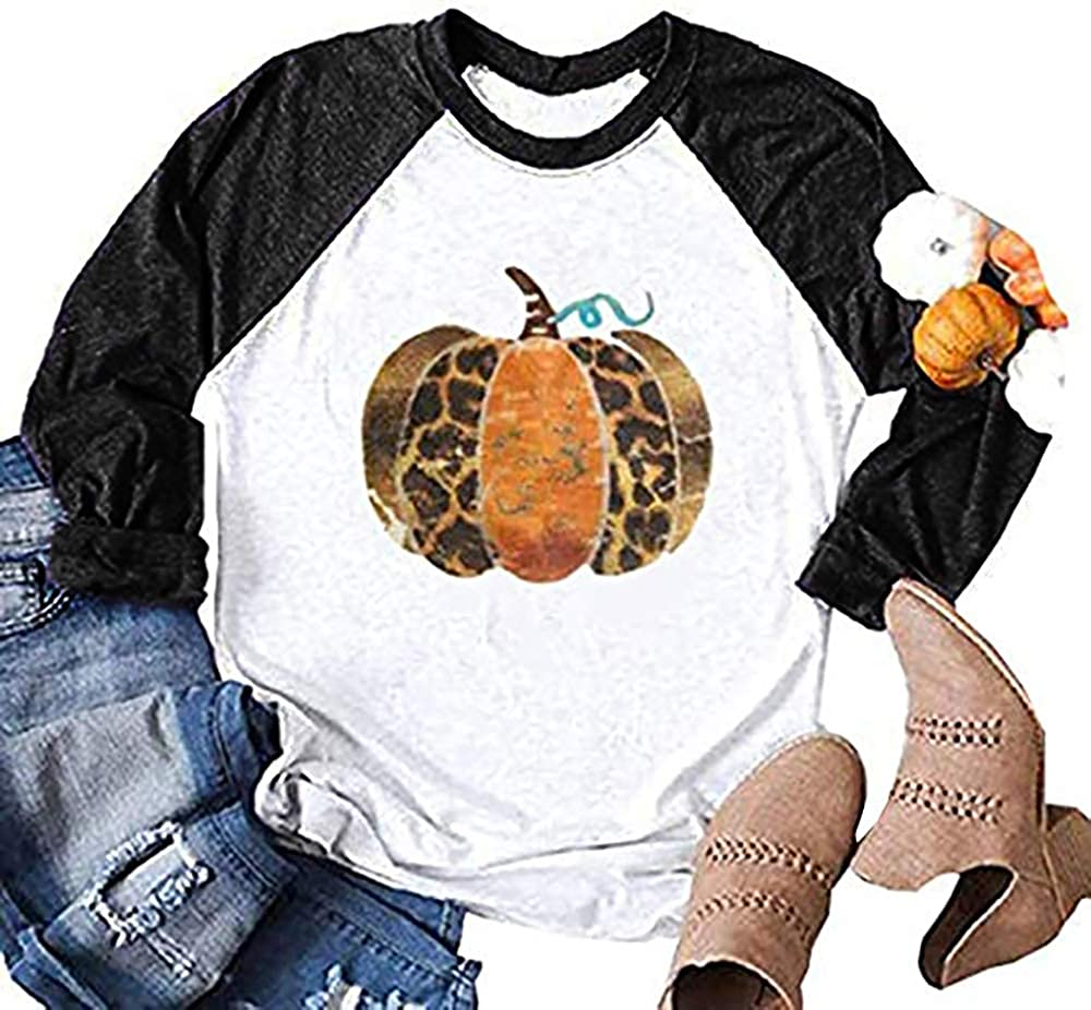Halloween Thanksgiving T-Shirts Women Funny Leopard Pumpkin Graphic Tees Short Sleeve Fall Tops