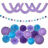 V-shine Purple Tissue Pom Poms Paper Flowers Banner Lanterns for Baby Shower Party Wedding Birthday Office Decorations 18 Pcs