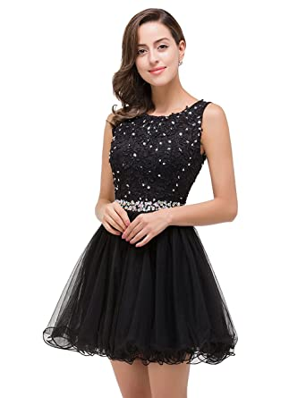 MisShow Juniors Sleeveless Tulle Short Prom Dress With Beaded Appliques