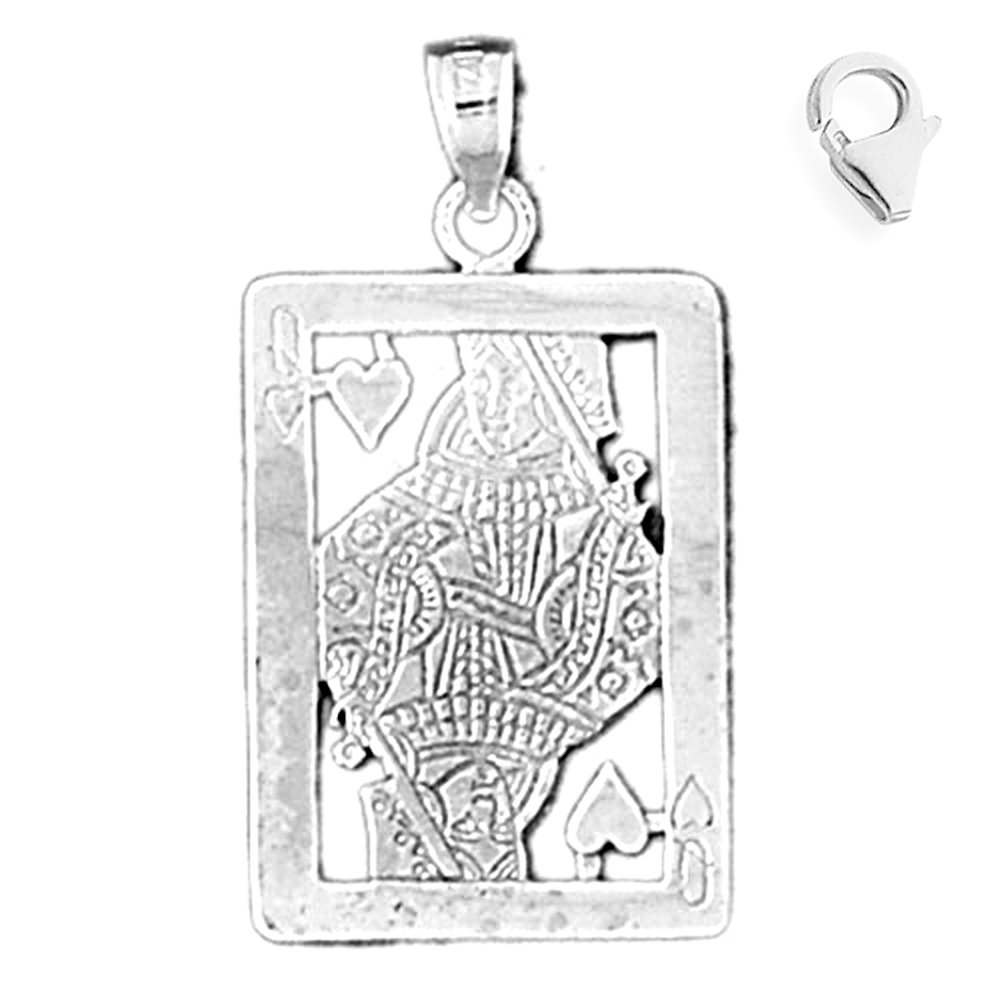 Jewels Obsession Playing Card Pendant Sterling Silver 32mm Playing Card with 7.5 Charm Bracelet
