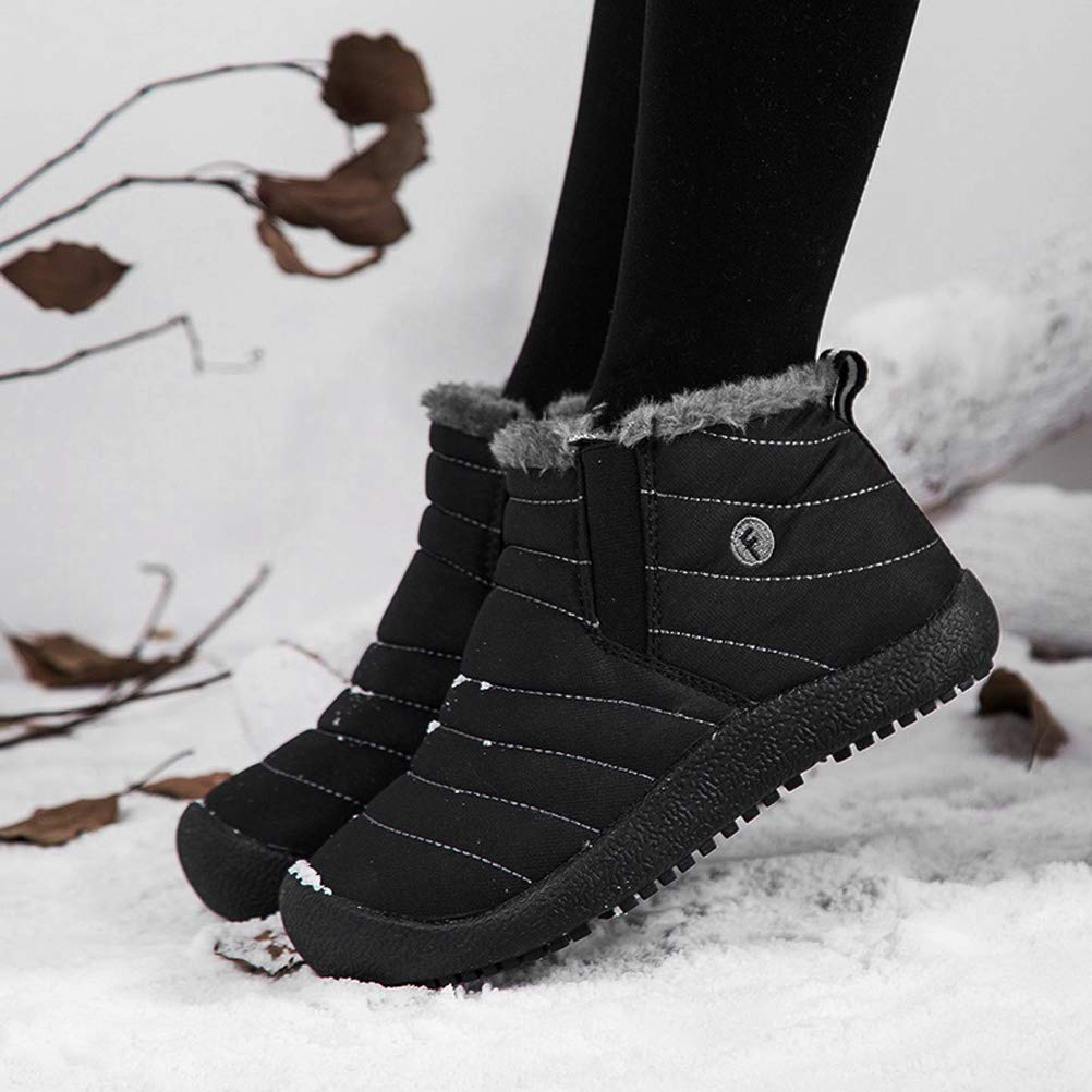 AFT AFFINEST Boys Girls Snow Boots Waterproof Slip On Fur Lined Sneakers Winter Warm Shoes