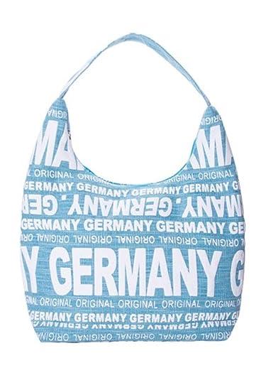 Canvas Schultertasche/Shopper GERMANY in hellblau/weiß (Maße: LxHxT 38x30x17 cm) Robin Ruth iHqdX