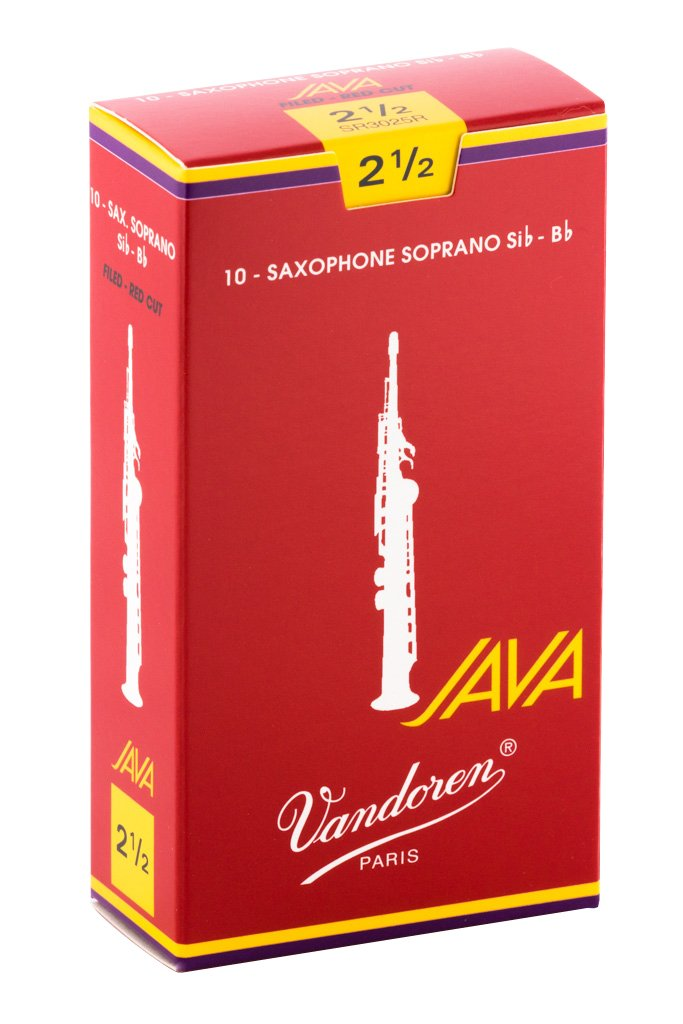 Vandoren SR3025R Soprano Sax JAVA Red Reeds Strength 2.5; Box of 10