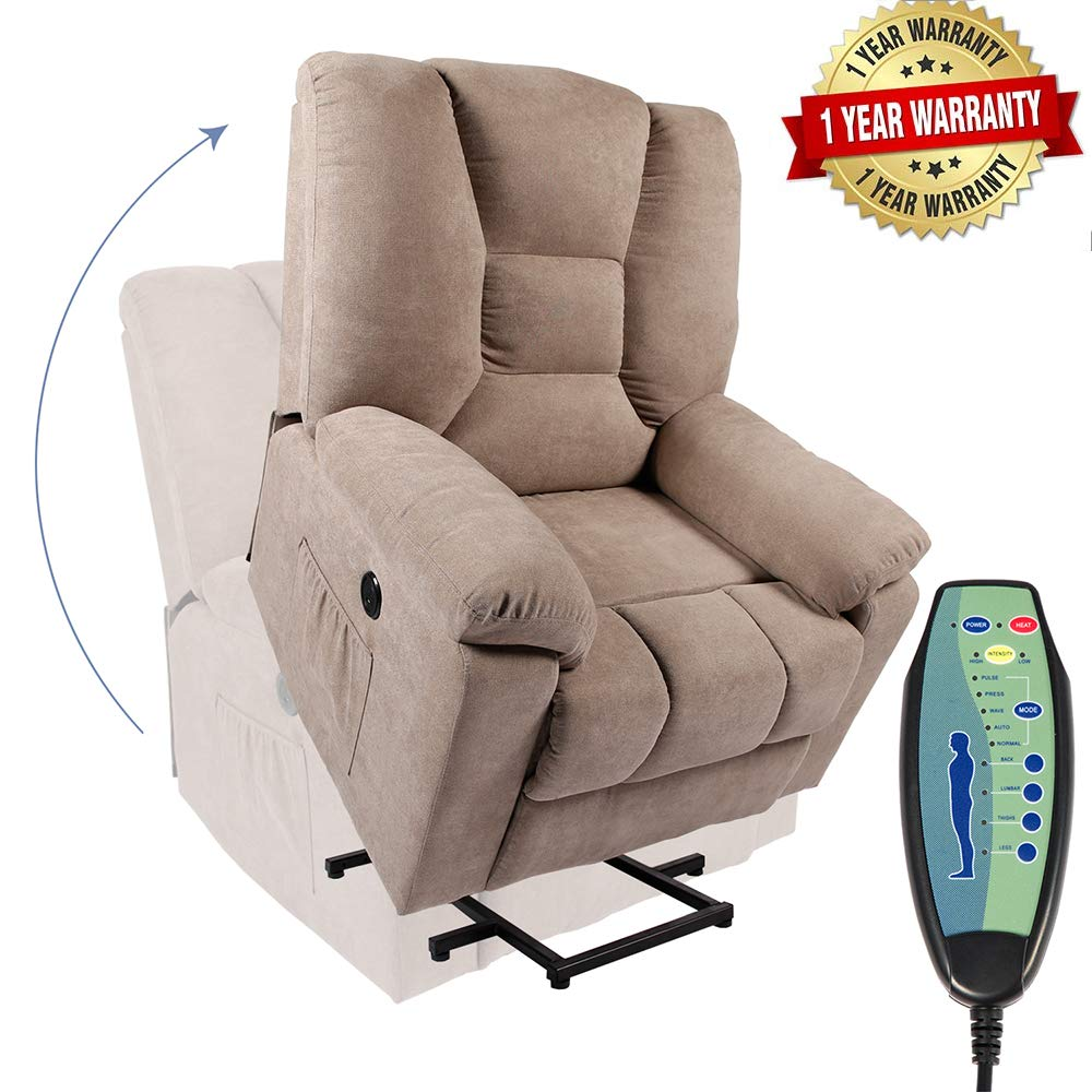 PieDle Electric Power Lift Recliner Chair, Linen Recliners for Elderly, Home Sofa Chairs with Heat & Massage, Remote Control, 3 Positions, 2 Side Pockets and USB Ports, Light Camel by PieDle