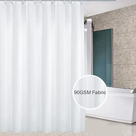 Eforcurtain Hotel Solid White Shower Curtain Water Repellent Standard Size Cloth Curtains Mold Resistant