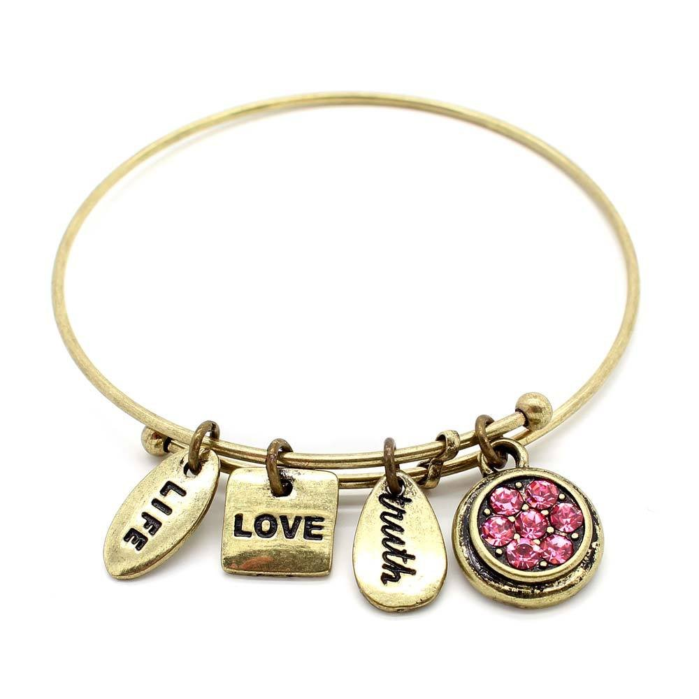 Symbology 'June' Birthstone Bangle Bracelet, Brass Expandable Wire Charm Bracelet With Pink Alexandrite Crystals Perfect Jewelry For Fashion Ceswx 9013649-6BO