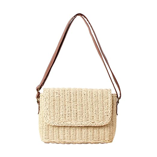 01328b0f20922 WDOIT Strohtaschen Damen Handtaschen Sommer Strohsack Crossbody Tasche  Retro Schulterbeutel Freizeit Geflochten Strandtasche …