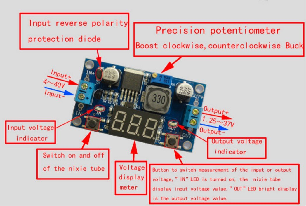 LM2596 Step Down Power Module DC Adjustable LED Voltmeter for Arduino Raspberry